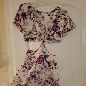 Side Cut Out Floral Dress
